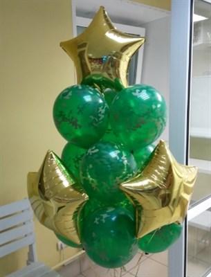 Фонтан из шаров и золотых звезд - фото 5834