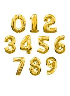 """Большая золотая фольгированная цифра """"slim"""", 102 см с гелием - фото 5869"""