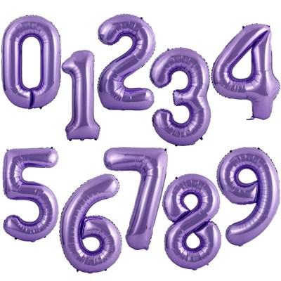 """Большая сиреневая фольгированная цифра """"slim"""", 102 см с гелием - фото 5871"""