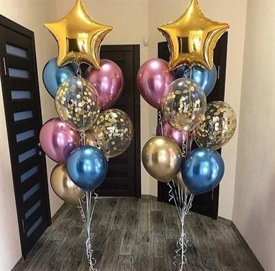 Композиция №316 со звездами и шарами с конфетти - фото 5907