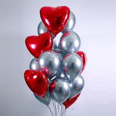 Композиция из шаров №317, сердца и шары хром - фото 5908
