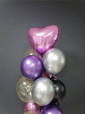 Композиция №322 с сердцем и шарами с конфетти - фото 5915