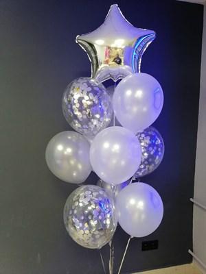 Композиция №345 со звездой и шарами с конфетти - фото 5946
