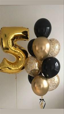 Композиция №347 с цифрой и шарами с конфетти - фото 5948