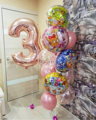 Композиция №353 с цифрой и шарами с конфетти - фото 5954