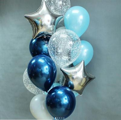 Композиция №358 со звездами и шарами с конфетти - фото 5959
