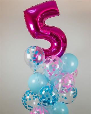 Композиция №372 с цифрой и шарами с конфетти - фото 5972