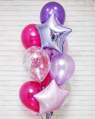 Композиция №379 со звездами и шарами с конфетти - фото 5979