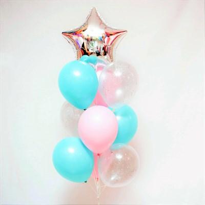 Композиция №380 со звездой и шарами с конфетти - фото 5980