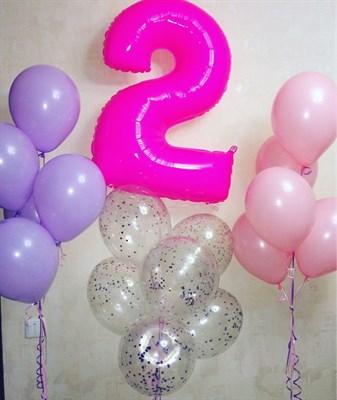 Композиция №382 с цифрой и шарами с конфетти - фото 5982
