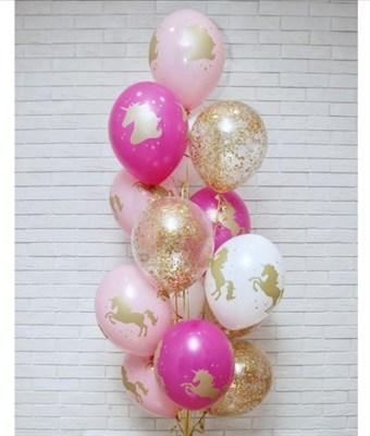 Композиция №388 с шарами с конфетти - фото 5990