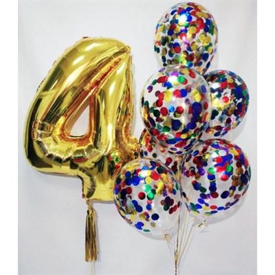Композиция №389 с цифрой и шарами с конфетти - фото 5991