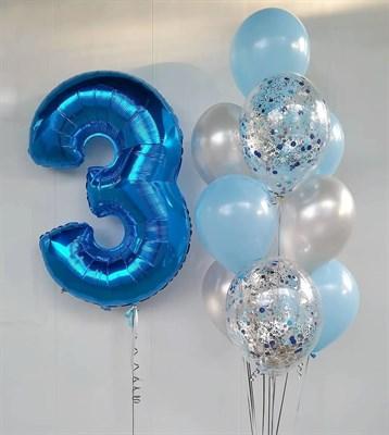 Композиция №394 с цифрой и шарами с конфетти - фото 5997
