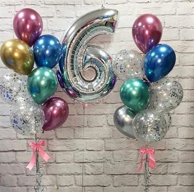 Композиция №395 с цифрой и шарами с конфетти - фото 5998