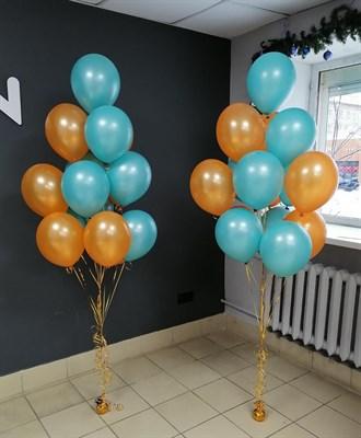 Композиция №411 из бирюзовых и оранжевых шаров - фото 6018