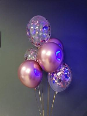 Композиция №412 из шаров хром розовое золото и конфетти - фото 6019