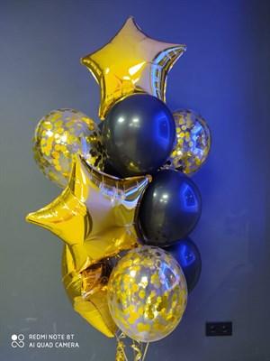 Композиция №415 из черных шаров , золотых фольгированных звёзд и конфетти - фото 6022