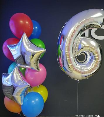 Композиция №416 из разноцветных шаров , фольгированных звёзд и цифры - фото 6023