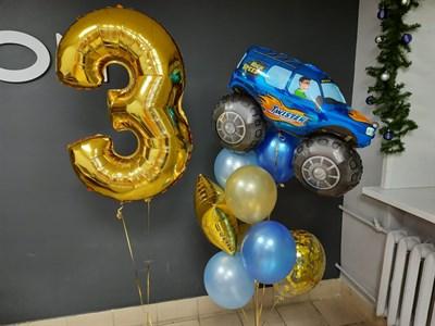 Композиция №417 из золотых, синих и голубых шаров, конфетти, фольгированных фигур и цифры - фото 6024