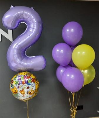 Композиция №419 из лавандовых , желтых и золотых шаров с фольгированной цифрой и кругом - фото 6027
