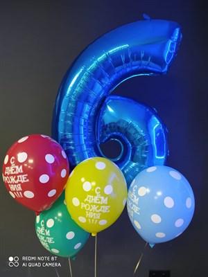 Композиция шаров №420 из шаров с рисунком и фольгированной цифры - фото 6028