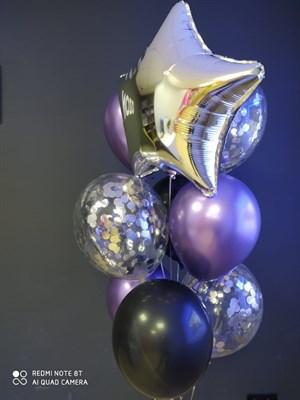 Композиция №424 со звездой и шарами с конфетти - фото 6032