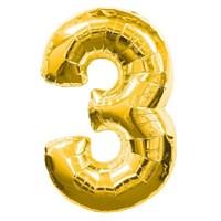 """Фольгированный шар """"большая цифра """"3"""" золотая"""