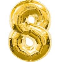"""Фольгированный шар """"большая цифра """"8"""" золотая"""