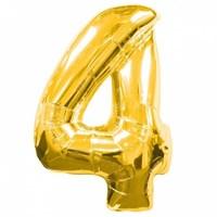 """Фольгированный шар """"большая цифра """"4"""" золотая"""