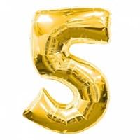 """Фольгированный шар """"большая цифра """"5"""" золотая"""