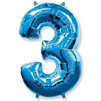 """Фольгированный шар """"большая цифра """"3"""" синяя"""