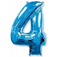 """Фольгированный шар """"большая цифра """"4"""" синяя"""
