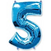 """Фольгированный шар """"большая цифра """"5"""" синяя"""