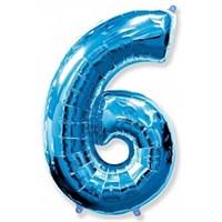 """Фольгированный шар """"большая цифра """"6"""" синяя"""