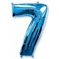 """Фольгированный шар """"большая цифра """"7"""" синяя"""