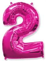 """Фольгированный шар """"большая цифра """"2"""" розовая"""
