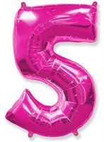 """Фольгированный шар """"большая цифра """"5"""" розовая"""