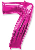 """Фольгированный шар """"большая цифра """"7"""" розовая"""