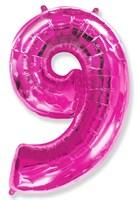 """Фольгированный шар """"большая цифра """"9"""" розовая"""