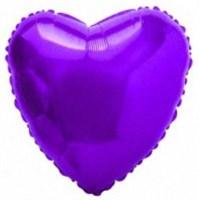"""Фольгированный фиолетовый шар """"Сердце"""" (45 см.)"""