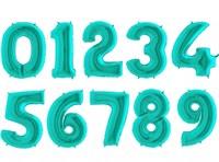 """Большие фольгированные цифры с гелием, цвет """"Тиффани"""""""