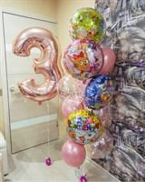 Композиция №353 с цифрой и шарами с конфетти