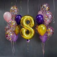 Композиция №368 с цифрой и шарами с конфетти