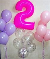 Композиция №382 с цифрой и шарами с конфетти