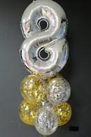 Композиция №408 с цифрой и шарами с конфетти