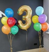 Композиция №410 из разноцветных шаров и цифры