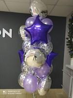 Композиция №413 из фольгированных звёзд и кругов, сиреневых шаров и конфетти