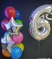 Композиция №416 из разноцветных шаров , фольгированных звёзд и цифры