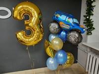 Композиция №417 из золотых, синих и голубых шаров, конфетти, фольгированных фигур и цифры