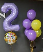 Композиция №419 из лавандовых , желтых и золотых шаров с фольгированной цифрой и кругом